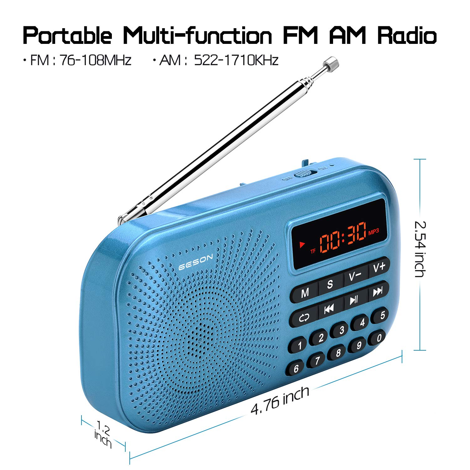 Portable AM FM Radio, Geson Mini Music Radio Player Support Micro SD Card/USB Disk with LED Screen Display (Blue) by Geson (Image #4)
