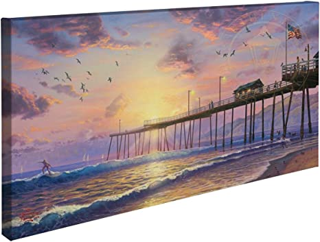 Amazon Com Thomas Kinkade Footprints In The Sand 16 X 31 Gallery Wrapped Canvas Posters Prints