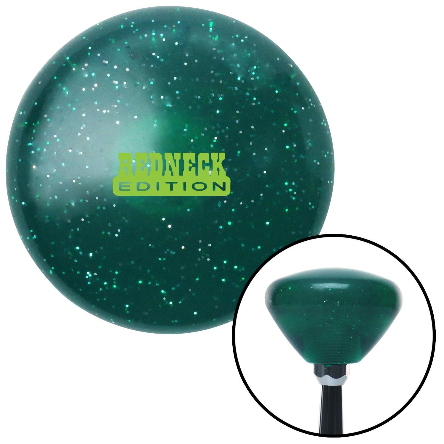 American Shifter 292602 Shift Knob Green Redneck Edition Green Retro Metal Flake with M16 x 1.5 Insert