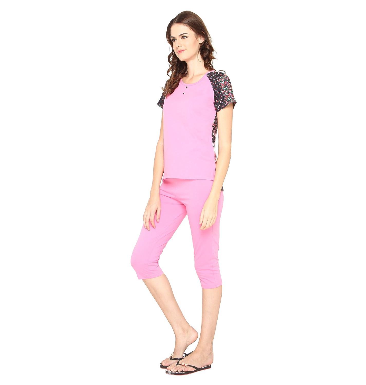 8f048b9f05ad1 Nightwear for Women - Night Suit - Summer Wear - Top   Capri Combo Set -  Sinker Material - Pink Color - Half Sleeves - Branded Valentine Women s  Night wear ...