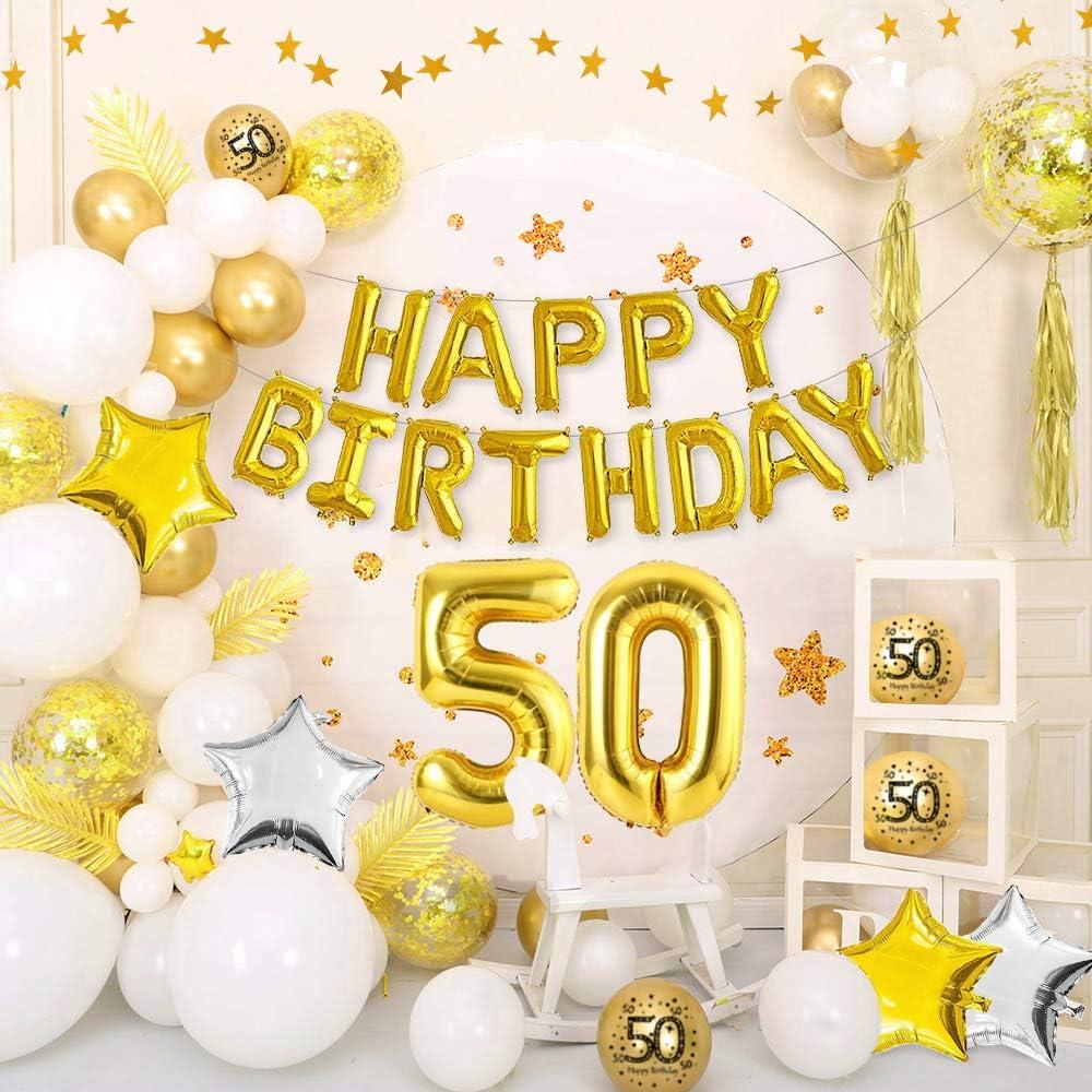 Juego de 25 Decoraciones de 50 Aniversario Incluye Globos de Happy Golden 50th Anniversary Bandera de Aniversario Bodas de Oro Banda Banderines y Confeti para Fiesta Aniversario Boda 50