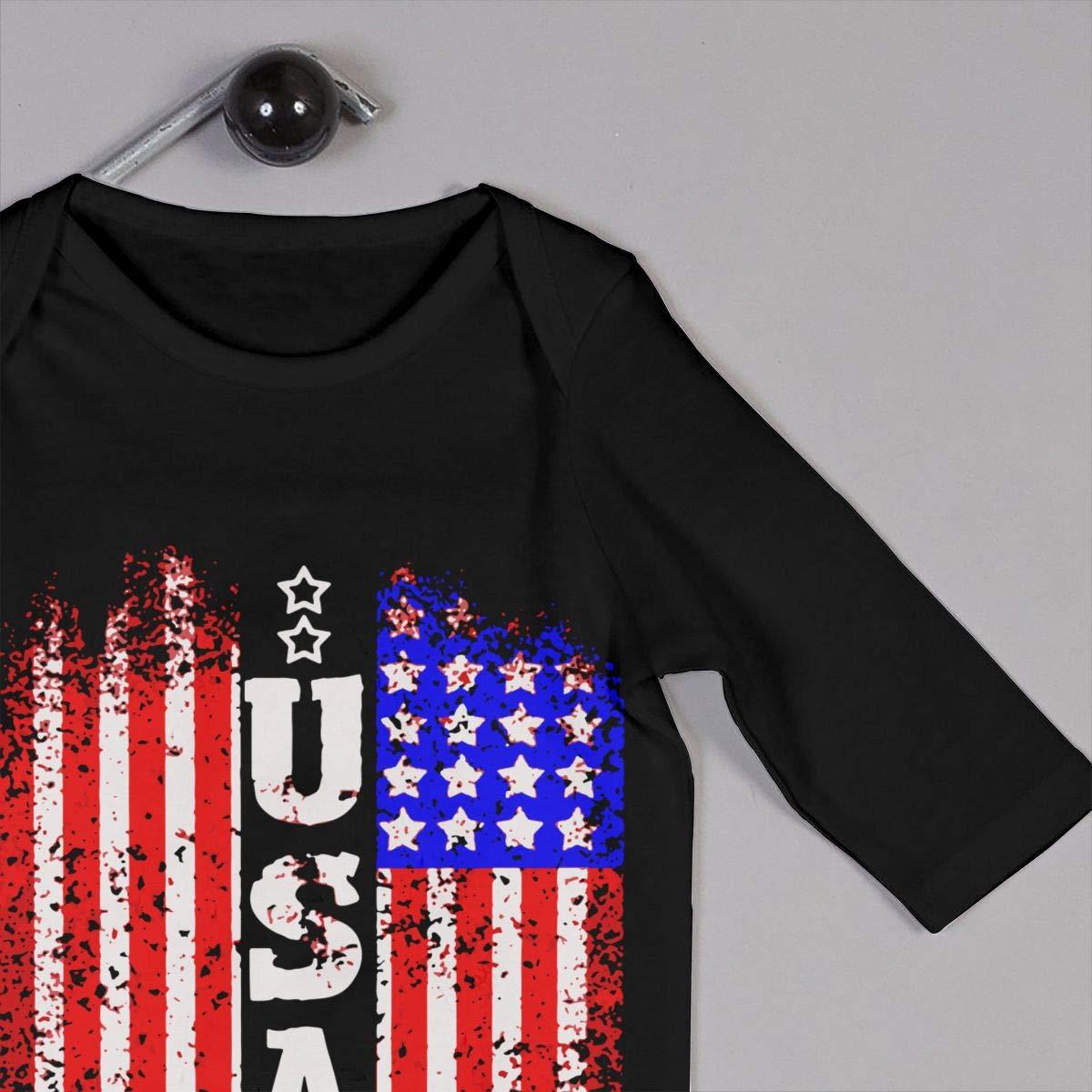 UGFGF-S3 American Flag Baby Boy Long Sleeve Romper Jumpsuit Organic Coverall