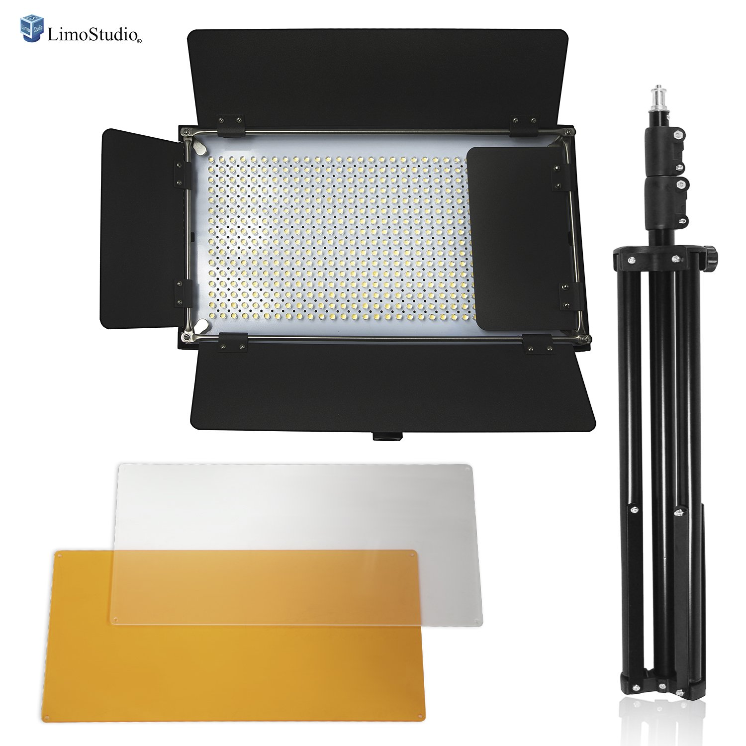 LimoStudio Adjustable LED Barn Door Light Panel with Light Stand Tripod, Selectable Lighting Zone and Dimmable Color Temperature Control with Gel Filters, Professional Photo Video Shoots, AGG2550