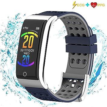 ISWIM Montre Connectée,ECG&PPG Podomètre Smartwatch Bracelet Connecté Écran Couleur Etanche IP67 pour Les Femmes