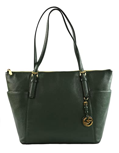 54d3b3d86e62 Amazon.com: Michael Kors Large East West Top Zip Leather Tote Moss: Clothing