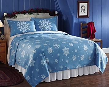 Snowflake Fleece Coverlet Blanket, Blue, Twin