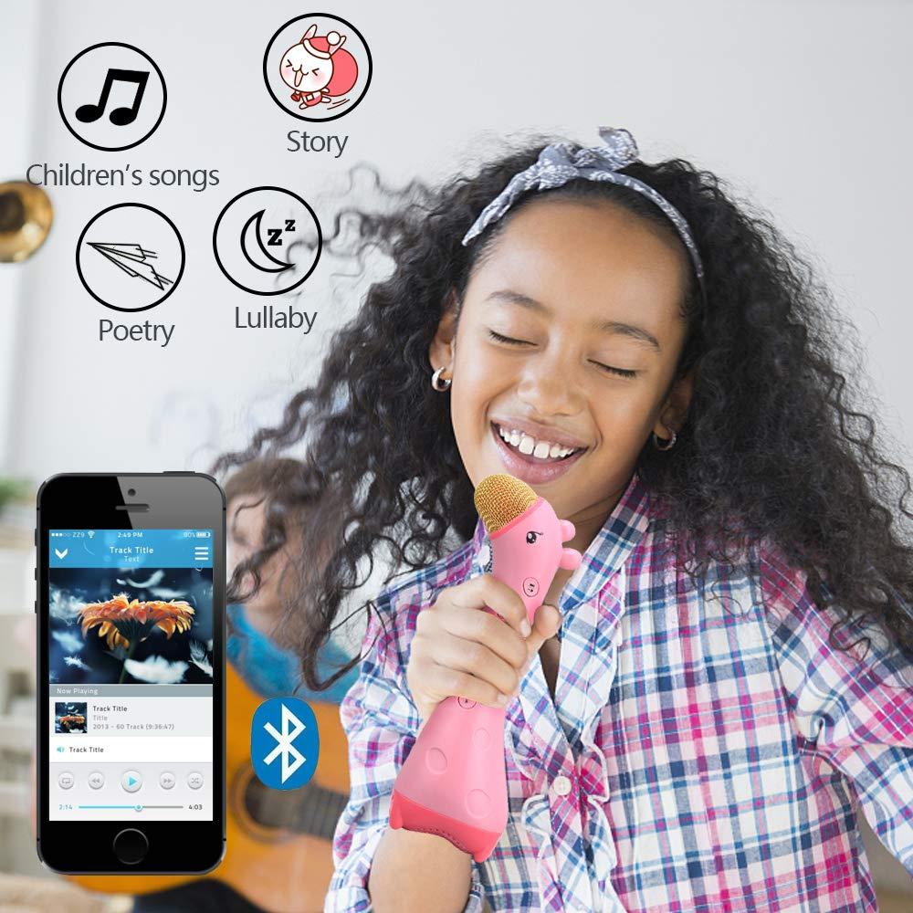 ALANGDUO Kids Microphone, Wireless Bluetooth Karaoke Microphone Magic Sound, Portable Handheld Karaoke Speaker Machine for Boys Girls Toddlers Home KTV Outdoor Party by ALANGDUO (Image #2)