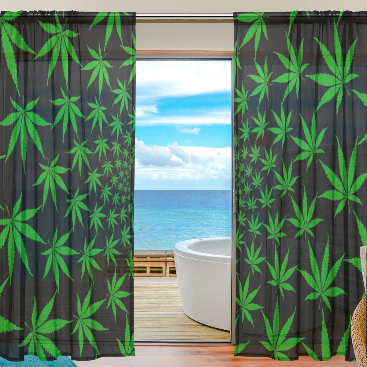 SEULIFE Window Sheer Curtain, Marijuana Leaf Leaves Green Voile Curtain Drapes for Door Kitchen Living Room Bedroom 55x78 inches 2 Panels by SEULIFE