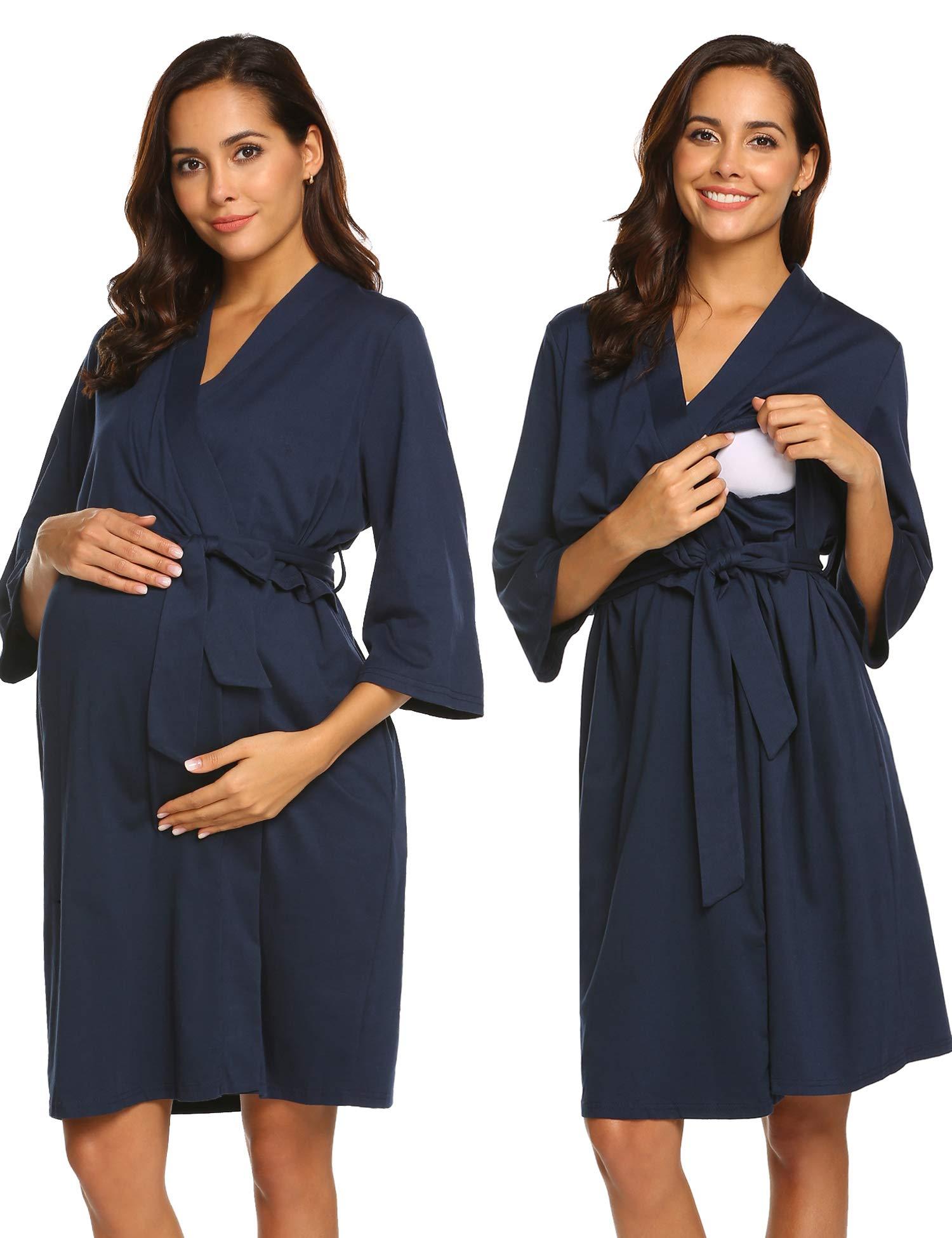 Ekouaer Womens Robe Long Sleeve Bathrobe Maternity Nursing Sleepwear Nightwear by Ekouaer