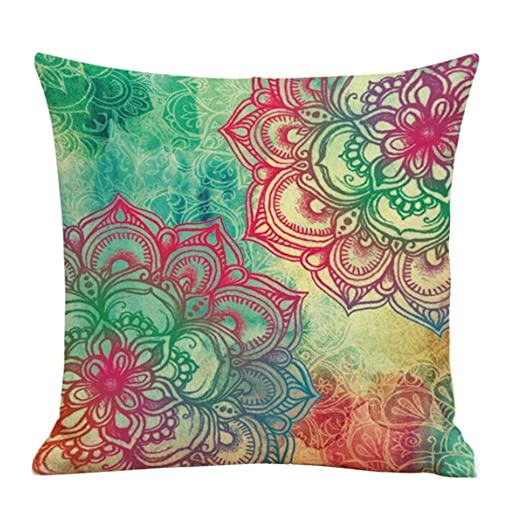 Winhurn Colorful Bohemia Style Linen Cushion Cover Pillow Case for Sofa Home Decor (Style B)