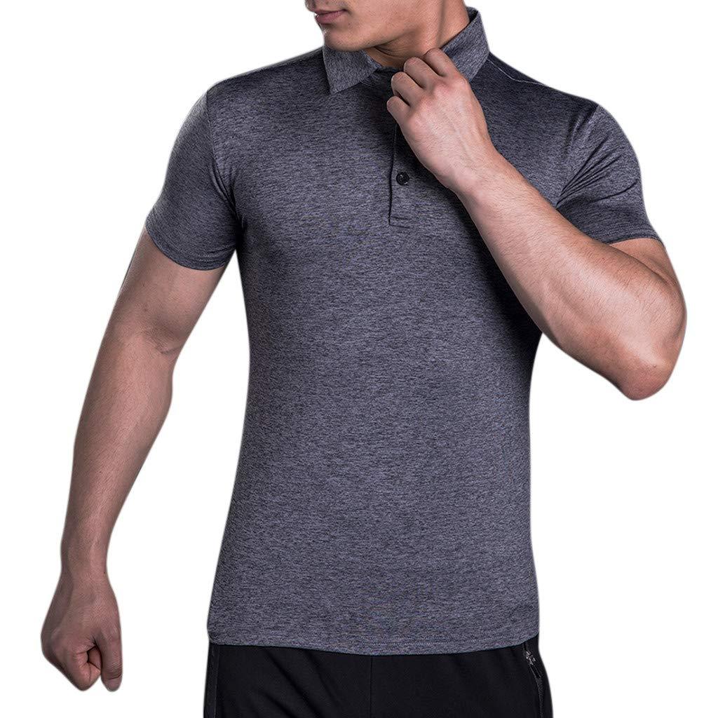 Mens Summer t Shirts Short Sleeve Tronet Men's Button Casual Slim Fit Shirts Short Sleeve Stand Collar Shirt Tops Blouse