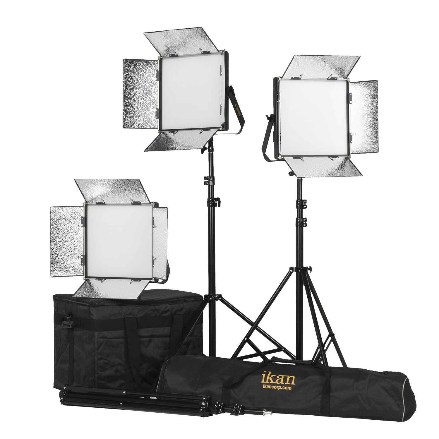 Ikan LB10-3PT-KIT 3-Point Soft Panel LED Light Kit  with Gold & V-Mount Battery Plate, Black
