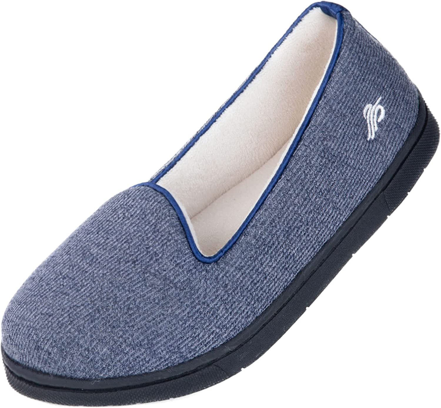 Wishcotton Womens Cozy Light House Slippers, Memory Foam House Shoes with Closed Back, Non slip Rubber Sole Indoor Outdoor