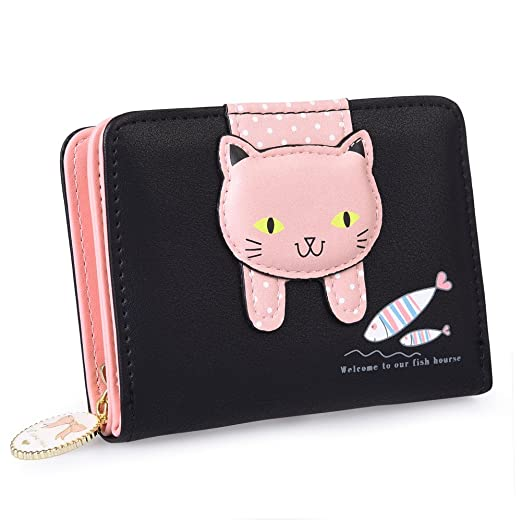 Vbiger Girls Wallet Cute Kitty Pattern Purse Coin Holder with Bowknot  (Black 3) de851c1fe34b9