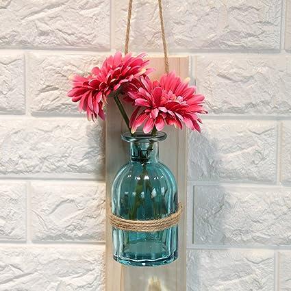 WENZHE Flores Artificiales Ramo Falsas Arreglos Florales Vidrio Multicolor Botellas Colgantes Puede Ser Llenado Con Agua