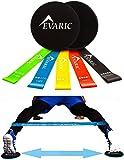 Evaric Discos deslizantes fitness de 2 y bandas resistencias de 5, Al aire libre o ejercicio en casa Pilates y entrenamiento de fuerza , con bolsa de instrucciones y almacenamiento