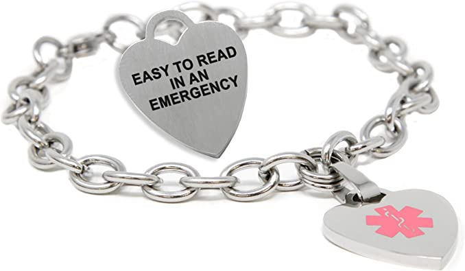 Heart /& Love Gold or Silver Medical ID Bracelet FREE Engraving