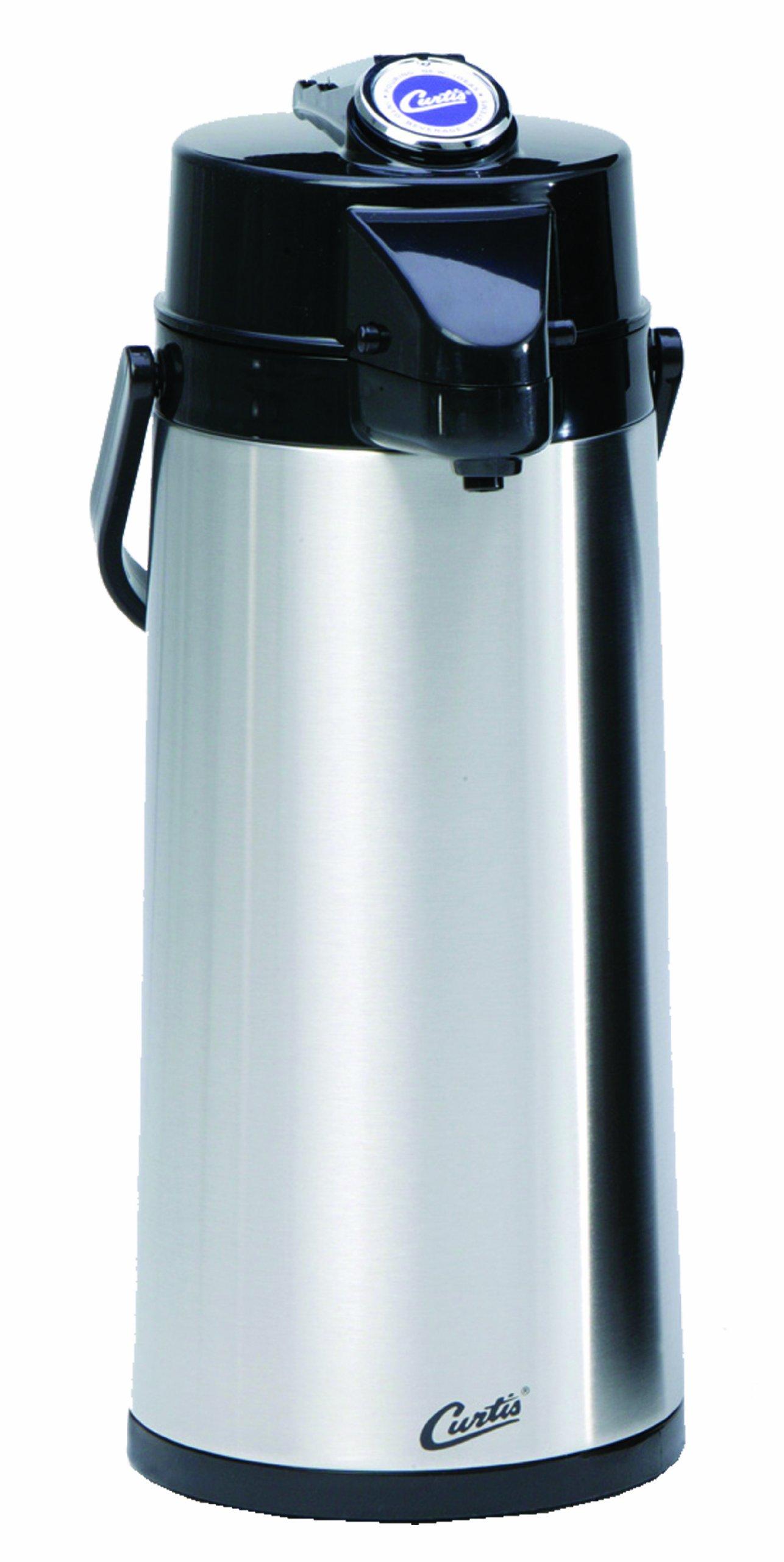 Wilbur Curtis Thermal Dispenser Air Pot, 2.2L S.S. Body Glass Liner Lever Pump - Commercial Airpot Pourpot Beverage Dispenser - TLXA2201G000 (Each)