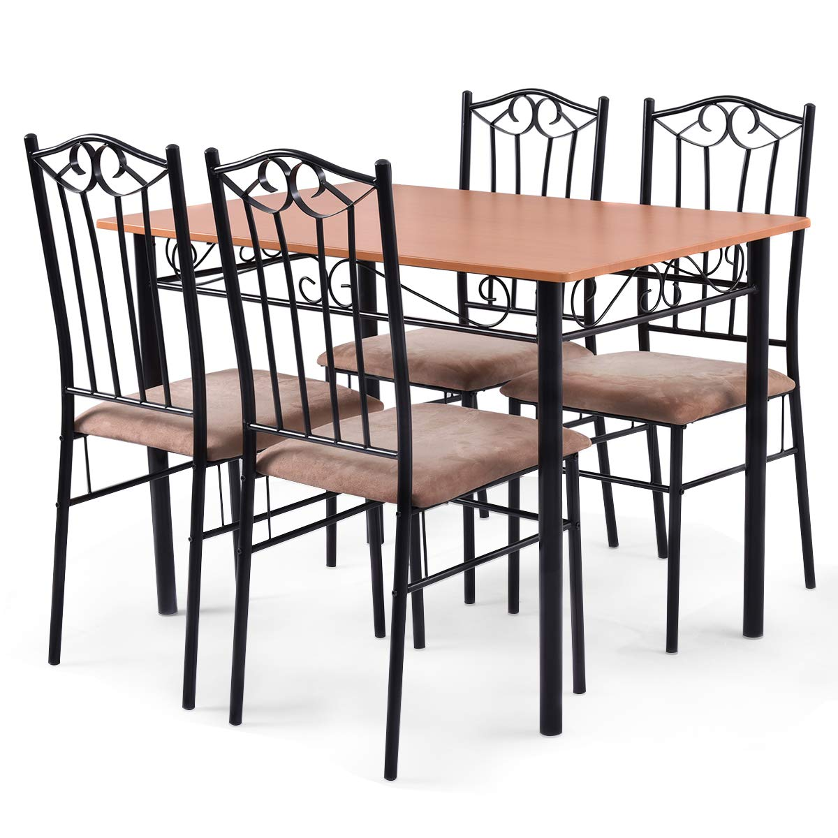 Tangkula 5 Piece Dining Table Set Vintage Wood Top Padded Seat Dining Table and Chairs Set Home Kitchen Dining Room Furniture by Tangkula (Image #6)