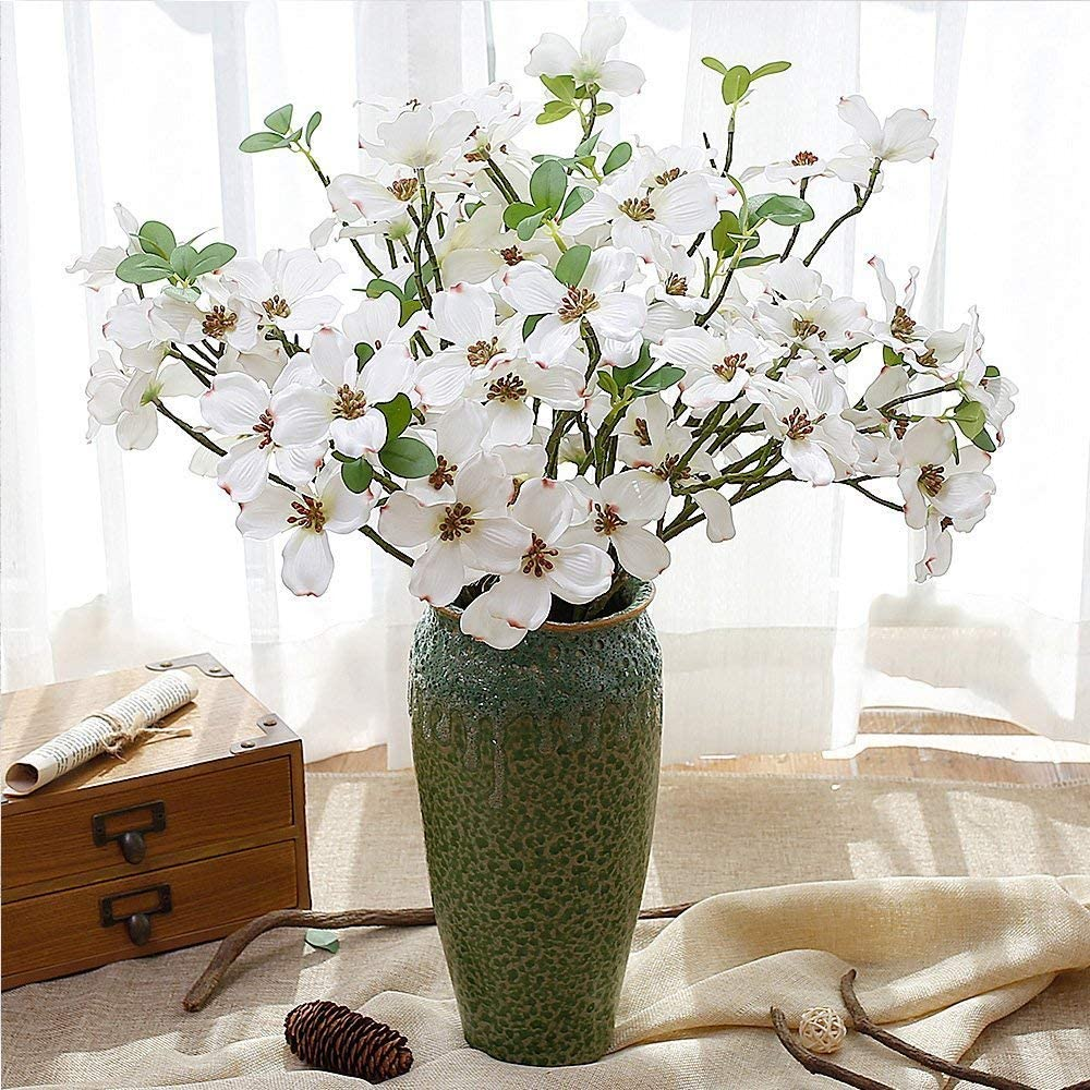 YILIYAJIA 4PCS Artificial Dogwood Blossom Silk Flowers Bridal Flowers Bouquets Fake Cornus Bush for Wedding Home Office Decoration(White)