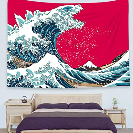 Ofat Home Japanese Hokusai Creative Godzilla The Great Wave Painting Artistic Tapestry Wall Hanging Wonderful Nature Scenic Fiber Fabric Home Wall