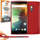 Orzly® - FlexiSlim Case for OnePlus 2 SmartPhone (ONE PLUS TWO - 2015 Model) - Super Slim (0.35mm) Protective Phone Cover in Semi Transparent RED