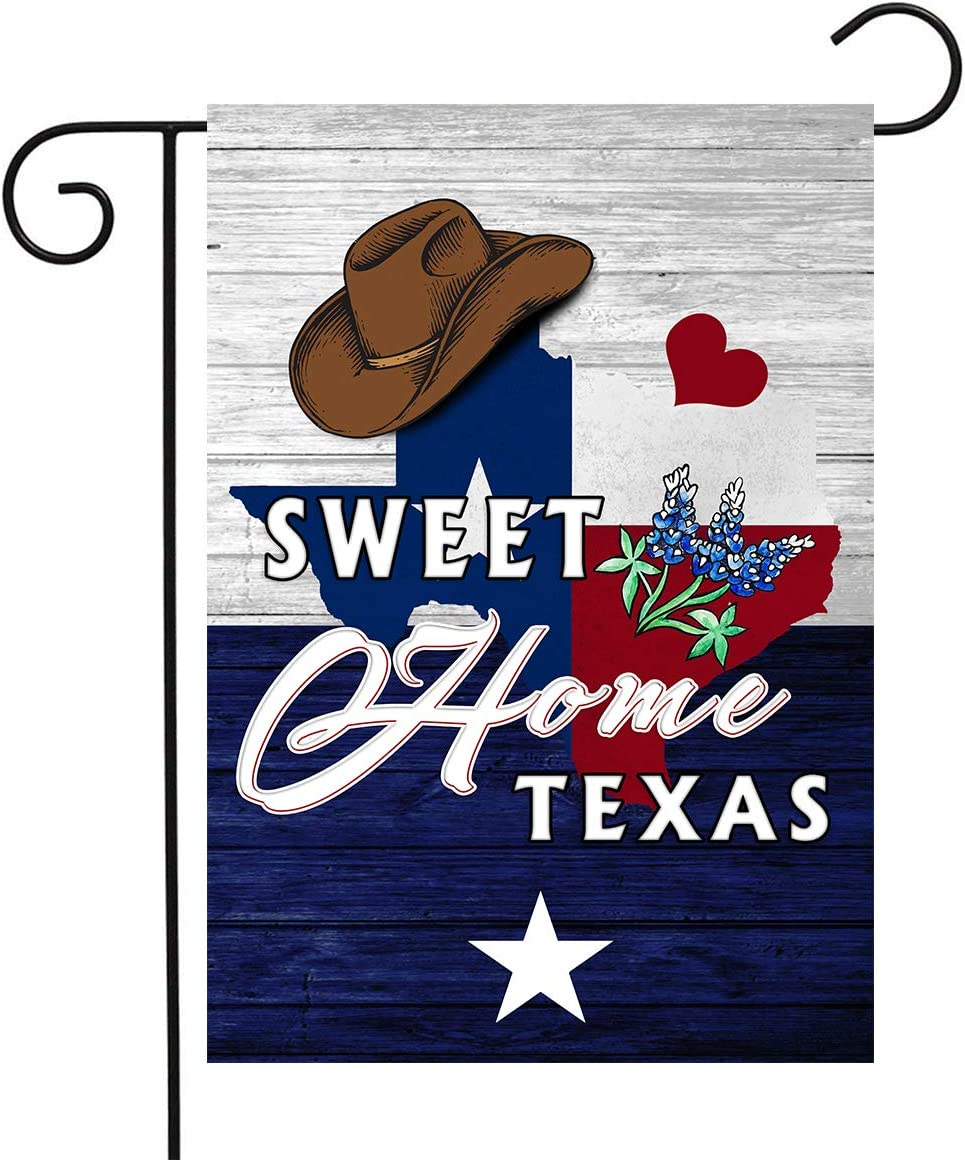 DZGlobal Texas Garden Flag Western Home Sweet Home Flag Cowboy Hat Texas State Flag Bluebonnets Decor for Outdoor Yard 12 x 18
