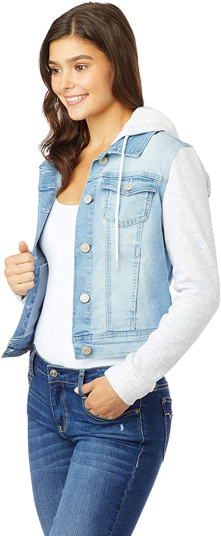 WallFlower Juniors Dreamer Hooded Knit-Sleeve Denim Jacket