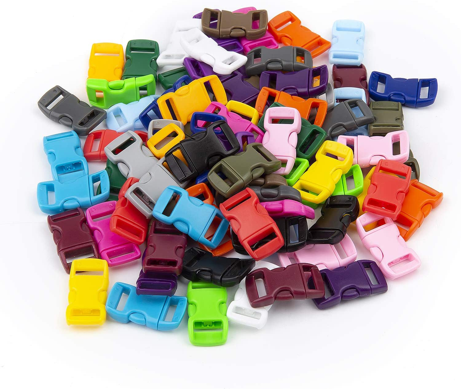 LEEUEE 100 Pack Side Release Plastic Buckles 3//8 Inch Double Adjustable Snap Clips for Paracord Bracelets Luggage Straps Pet Collar Backpack in Assorted Colors No Sewing Required