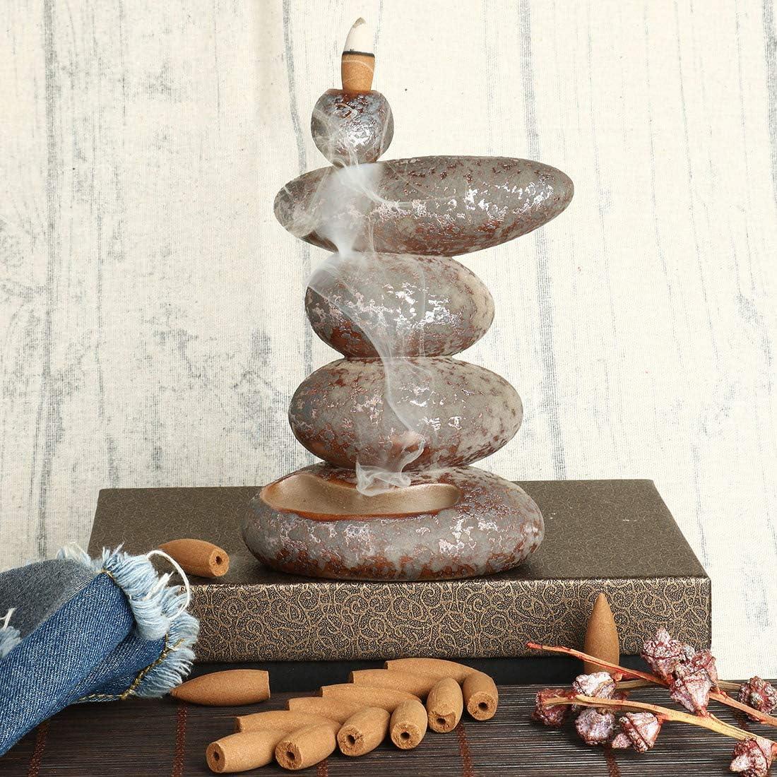 Quemador de incienso de cerámica, cascada, conos de incienso, soporte para incienso con 10 conos gratis, decoración del hogar, regalo artesanal, piedras de varias capas
