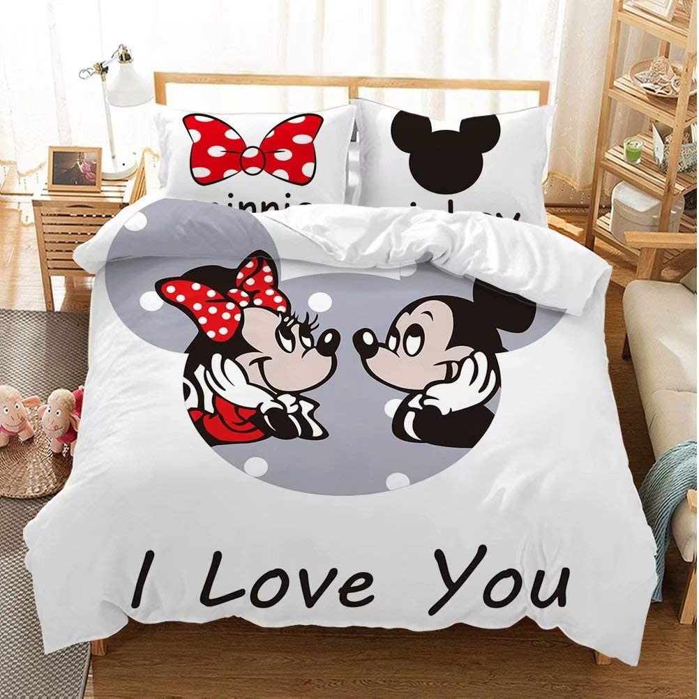 Amazon Com Mickey Minnie Mouse Duvet Cover Sets For Boys Girls Bed Set Super Soft Microfiber White Background Kids Toddler Bedding Sets 3piece 1duvet Cover 2pillowcases Pattern4 Queen Home Kitchen