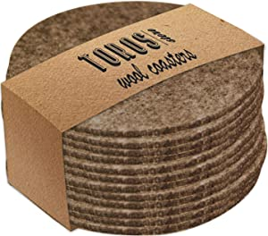 Set of 12 Felt Beige Drink Coasters 4x4 inches - Round Coaster for Drinks Absorbent - Thick Coasters for Glasses - Cup Mats - Protect Furniture from Heat, Stain, Scratches and Condensation