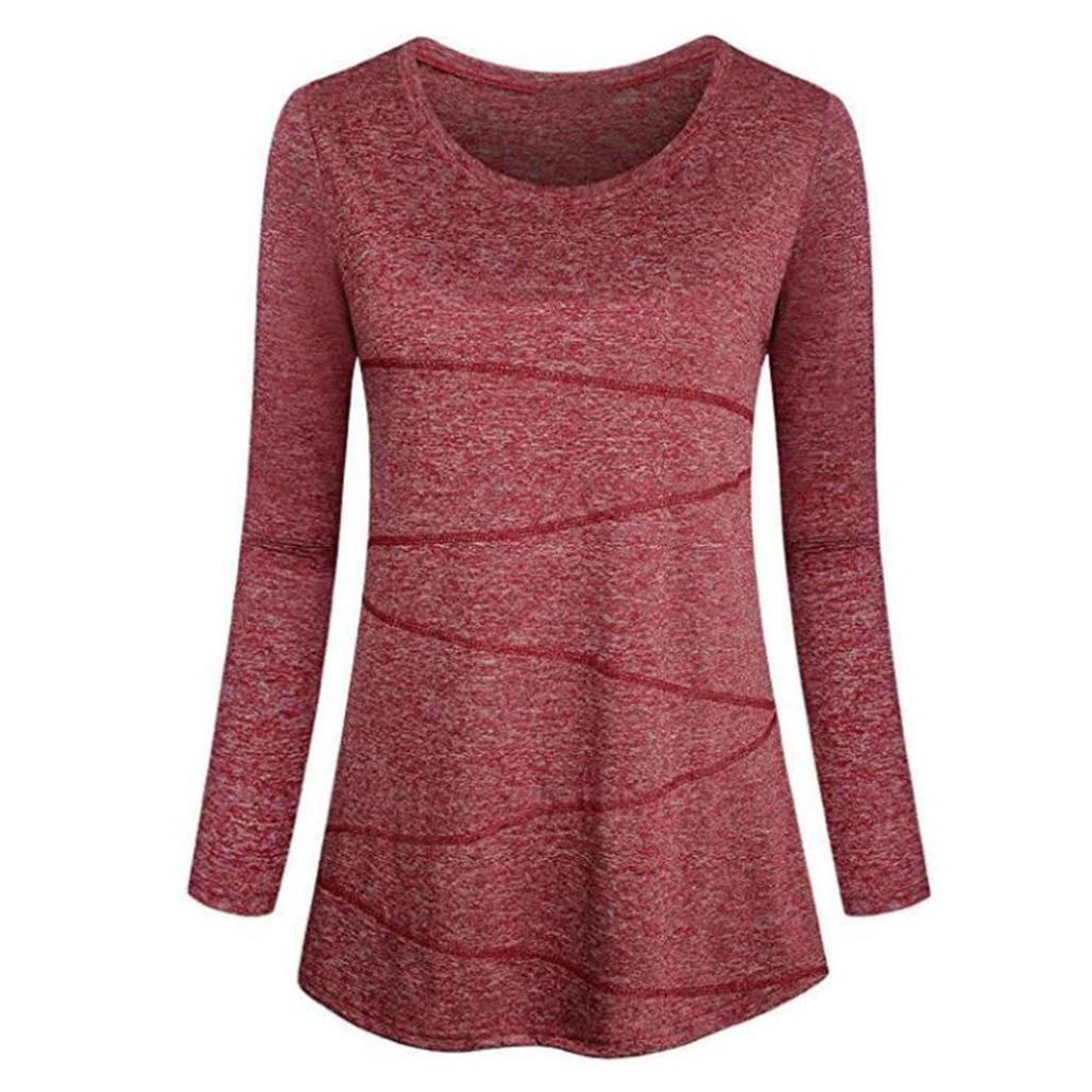 fine_fine Women's Long Sleeve Casual Loose Sweatshirt Pullover T-Shirt Shirt Top