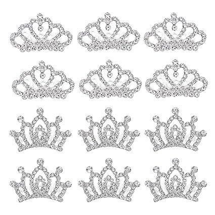 Amazon.com: Mini corona de princesa peine tiara de cristal ...