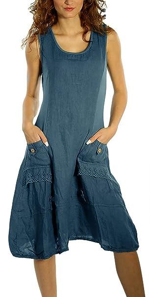 c20e3a5e1002d5 Hownew-X Vestito da Donna Abito Senza Maniche Estate Lino Retro Vintage  Gonna S Blu