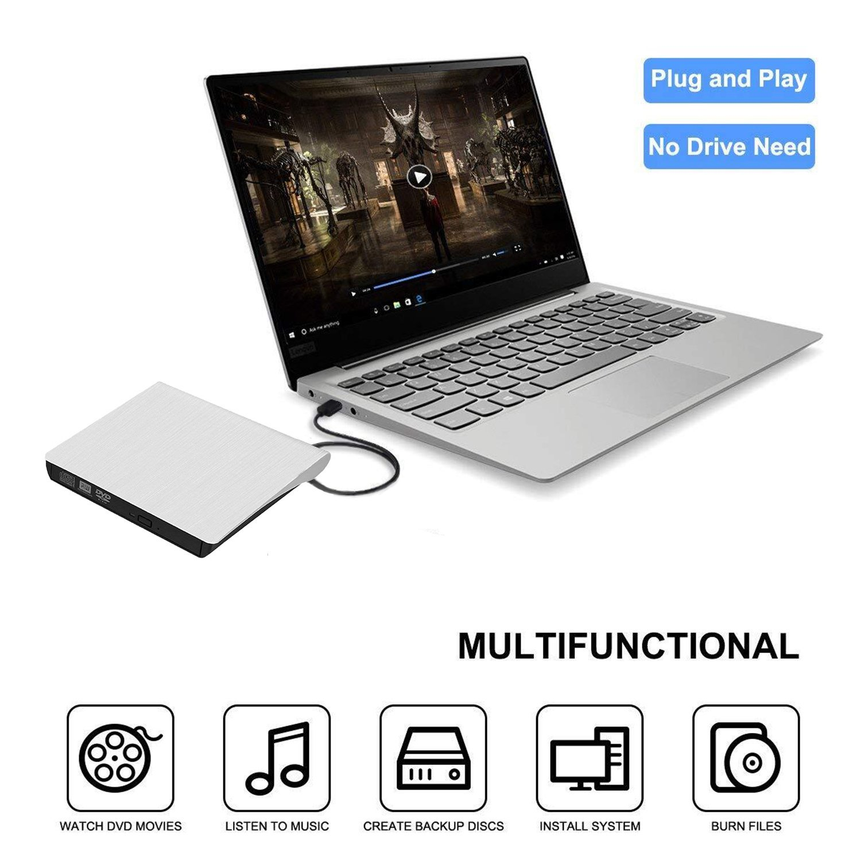 YSD External CD Drive, Ultra-Slim USB 3.0 External DVD Drive, DVD/CD Rom Rewriter Burner Write, High Speed Data Transfer for Laptop Desktops PC Windows7/8/10, Linux OS Apple Mac Macbook Pro etc(White) by YSD (Image #3)