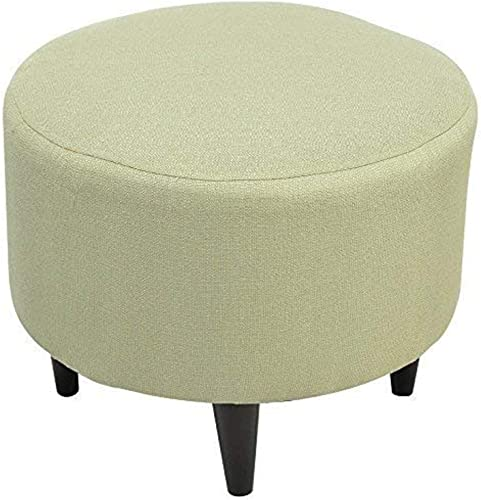 Sole Designs Candice Series Sophia Collection Round Upholstered Ottoman with Espresso Leg Finish, Sea Foam
