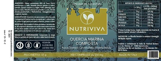 NUTRIVIVA - 100 Tabletas Compuestas de Roble Marino de 550 ...