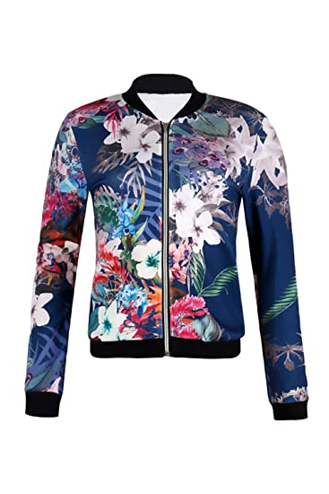 09f06958488 Image Unavailable. Image not available for. Color  Womens Casual Full Zip Floral  Bomber Jacket Coat ...