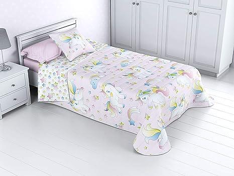 Colcha Bouti Infantil Reversible 100% con Funda de cojín y Tacto algodón Mod. Unicornio (Cama de 105 cm (200x270 cm))