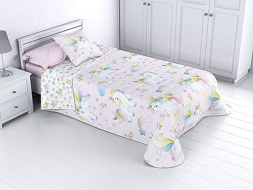 Cabetex Home - Colcha Bouti Infantil Reversible 100% con Funda de cojín y Tacto algodón Mod. Unicornio (Cama de 90 cm (180x270 cm))