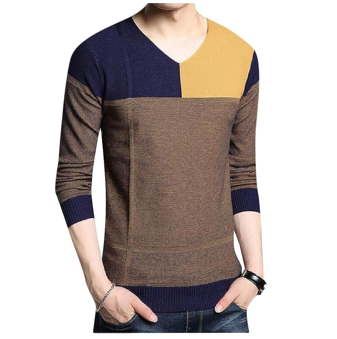 neveraway Men V Neck Ribbing Edge Hit Color Tops Long Sleeve Knit Sweater