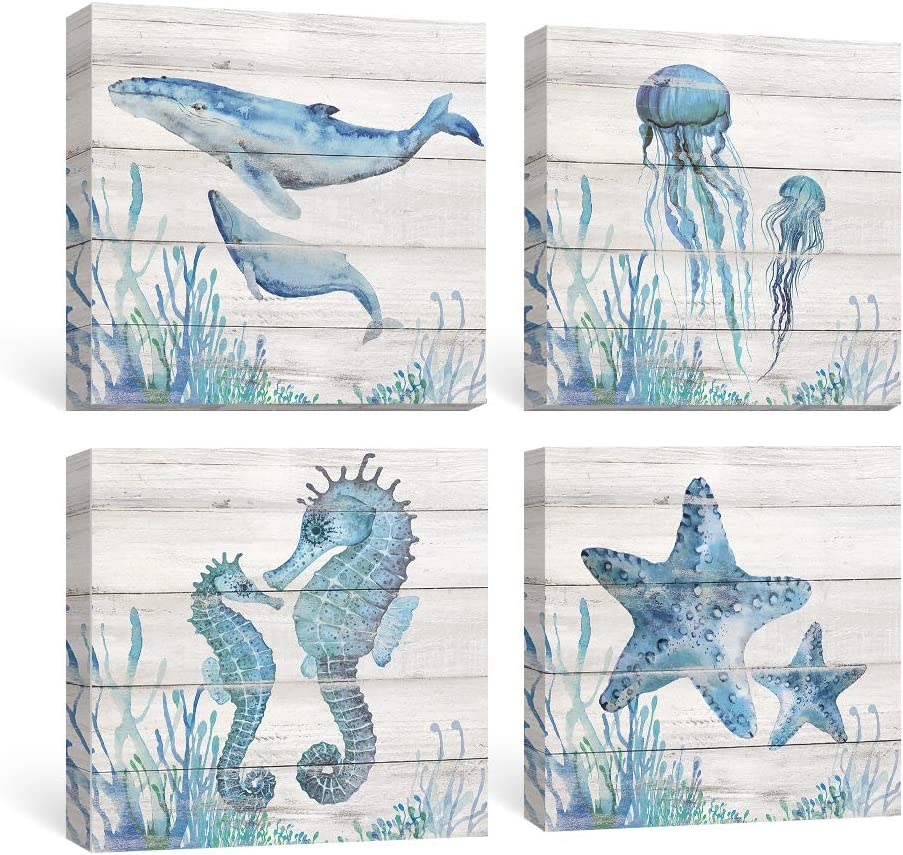 SUMGAR Ocean Wall Art Bathroom Rustic Decor Beach Coastal Canvas Paintings Farmhouse Navy Blue Pictures Seahorse Starfish Nautical Artwork Set of 4 Marine Life Theme Bedroom Decorations 12x12 inch