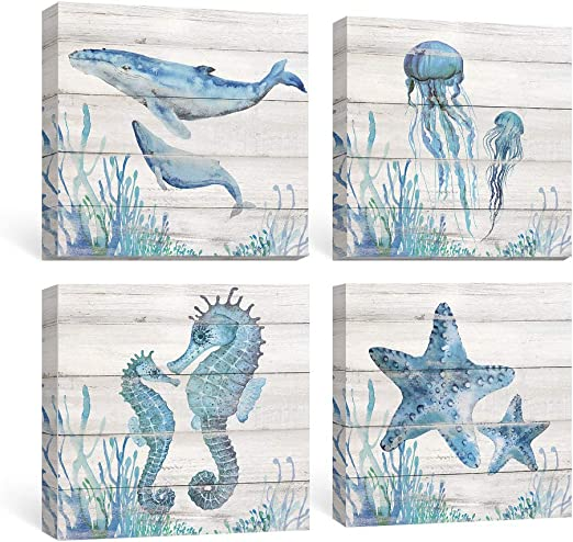 Amazon Com Sumgar Ocean Wall Art Bathroom Rustic Decor Beach Coastal Canvas Paintings Farmhouse Navy Blue Pictures Seahorse Starfish Nautical Artwork Set Of 4 Marine Life Theme Bedroom Decorations 12x12 Inch Posters