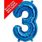 16 inch Blue Number 3 Foil Balloon