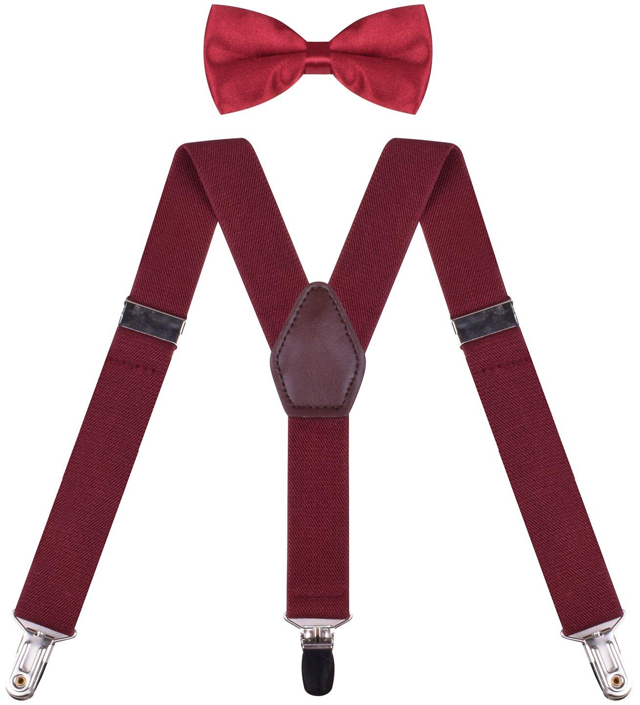 Suspenders With Bow Tie Fashion Suspender Braces for Kids Shoulder Straps Wine