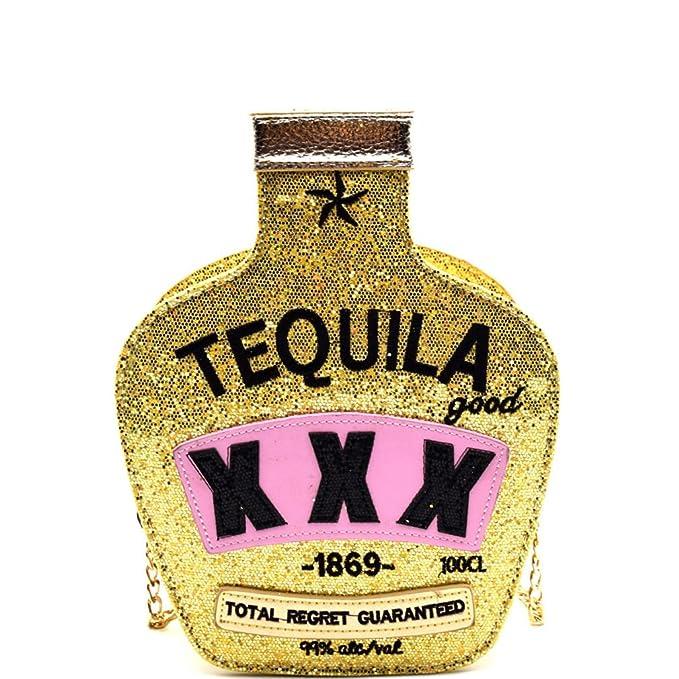 dbfac9b8b6b6 Amazon.com  New! Tequila Theme Novelty Cross Body- Glitter Gold ...
