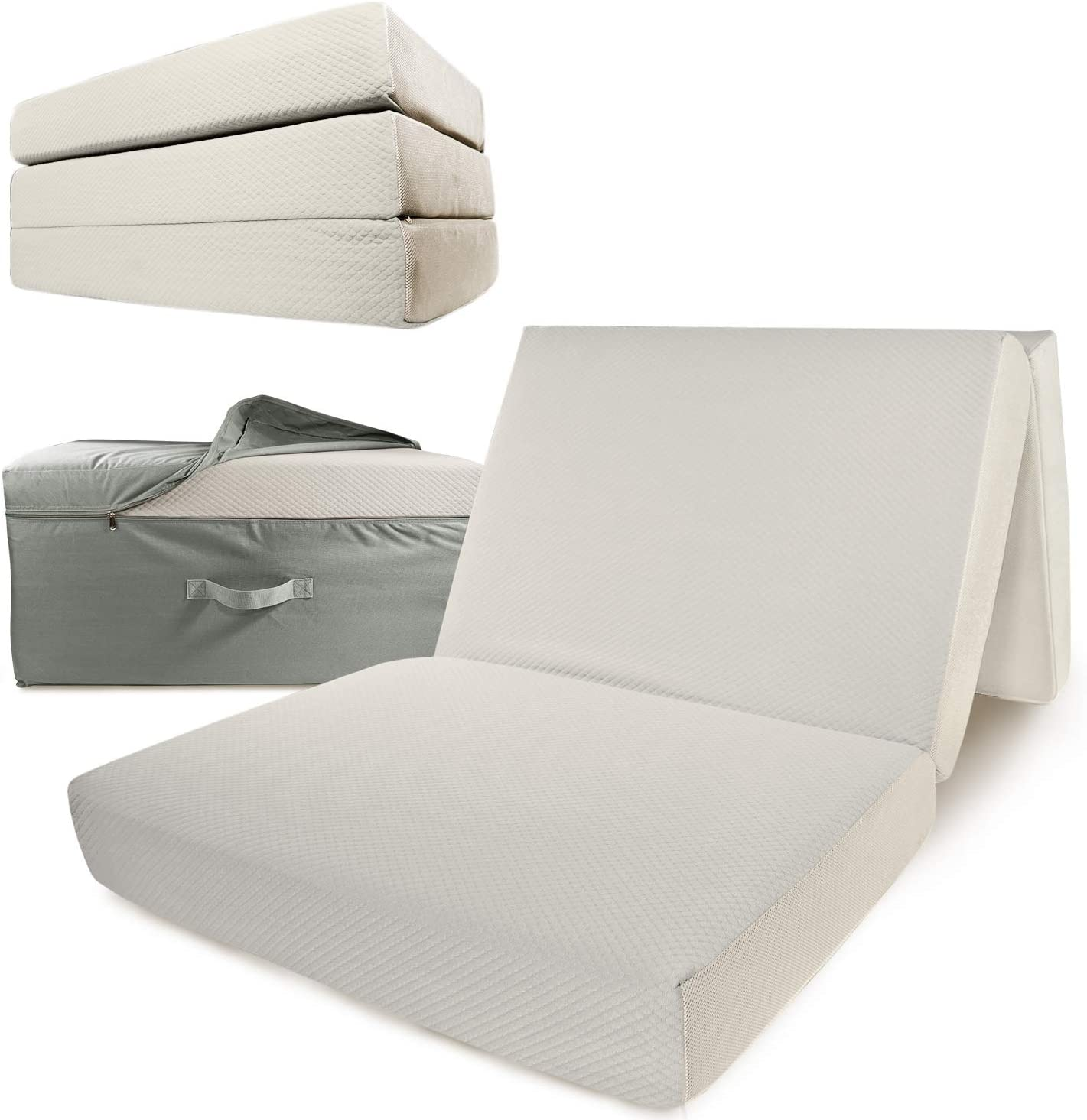 Portable Mattress – Folding Memory Foam Guest Fold Up Bed w Case Tri-Fold 6 Inch Travel Away Floor, Futon Camp Cot Topper for Fast Trifold Foldable Fold-Up Fold-Out Sleep Comfort Twin