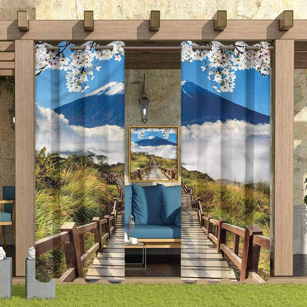 """ParadiseDecor Nature Indoor/Outdoor for Garden Drapes Porch Gazebo Curtains Mountain Valley Road 112"""" W x 95"""" L"""