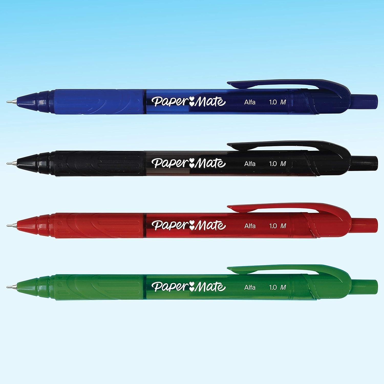 Inchiostro Blu 12 Pezzi Blu Paper Mate Alfa Penne a Sfera Retrattili Punta media 1.0 mm